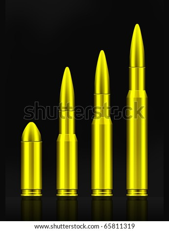Set of bullets - stock vector