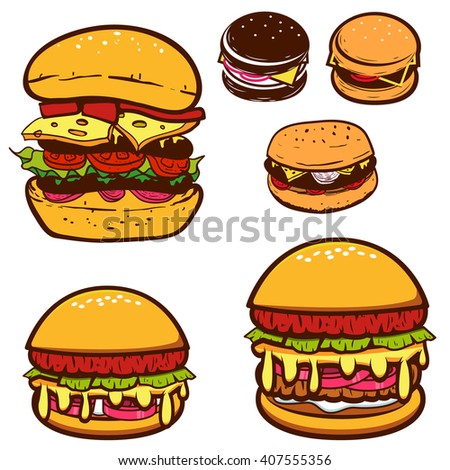 Set of burgers illustrations. Hamburgers icons. Fast food. Design elements in vector.