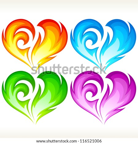Set of burning vector heart. Red, blue, green and purple symbol of love - stock vector