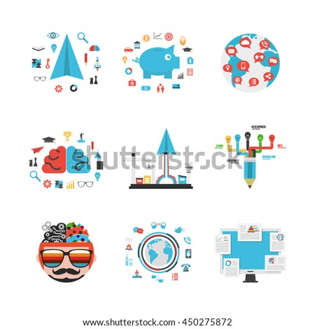 set of business and concept idea, isolated on white background - stock vector