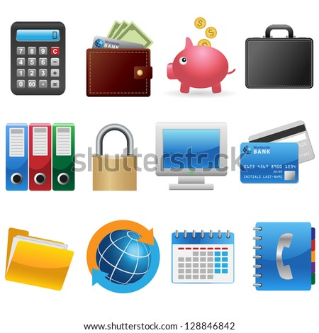 Set of business and finance icons - stock vector