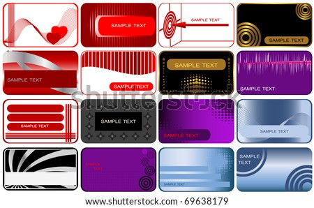 Set of 16 business and gift cards. vector.