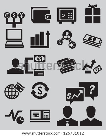 Set of business and money icons - part 2 - vector icons - stock vector