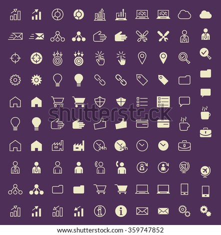 Set of 100 Business and SEO Minimal and Solid Icons. Vector Isolated Elements. - stock vector