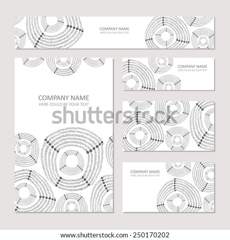 Set of business card and invitation card templates with abstract pattern. Vector background. Wedding or save the date hand drawn background. - stock vector