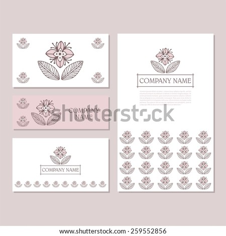 Set of business card and invitation card templates with lace ornament. Vector background. Hand-drawn flowers. Wedding or save the date hand drawn background. - stock vector