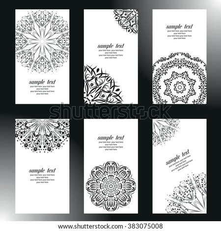 Set business card invitation card templates stock vector royalty set of business card and invitation card templates with lace ornament vector background indian stopboris Gallery