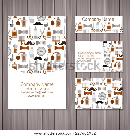 Set of business card and invitation card templates with pattern of barber shop. Vector background. Scissors, razor, cologne, mustache and other objects. - stock vector