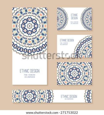 Set of business card, banner, invitation card templates with ethnic design. Stylish tribal geometric backgrounds. Aztec ornament. Vector illustration. - stock vector