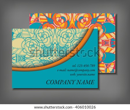 Set of business card template, abstract elegant pattern vector design editable. Hand drawn background. Islam, Arabic, Indian, ottoman motifs