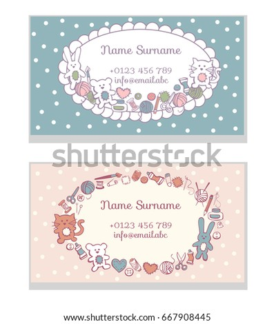 Set Of Business Card Templates Hand Made Toys Cute Doodles Sewing And Craft Supplies
