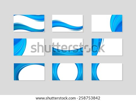 Set of Business Card with abstract blue waves - stock vector
