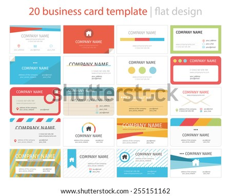 Set of 20 business cards - stock vector