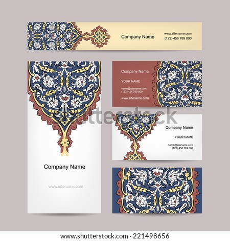 Set of business cards design, turkish ornament - stock vector