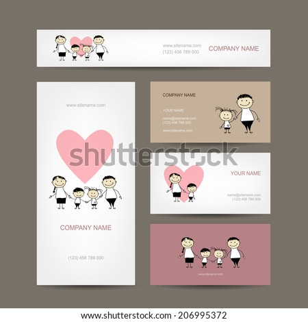 Set of business cards design with family - stock vector