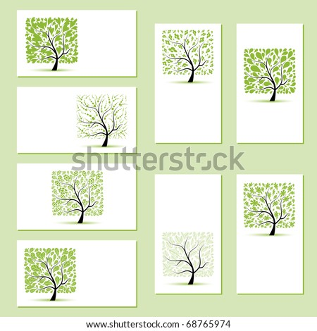 Set of business cards, floral trees for your design - stock vector