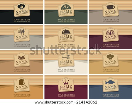 set of business cards for a restaurant on the theme of food and drinks - stock vector