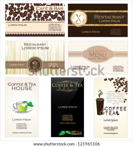 Set of 7 business cards for cafe and restaurant - stock vector