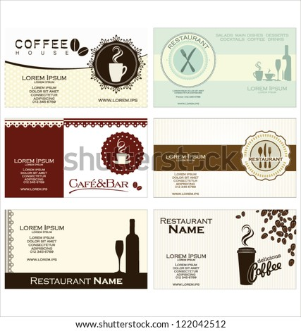 Set of 6 business cards for cafe and restaurant - stock vector