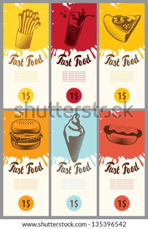 set of business cards for fast food - stock vector