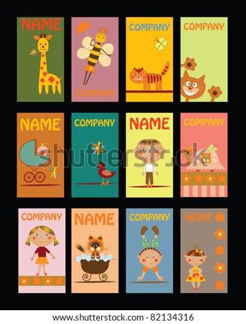 set of business cards for kindergarten - stock vector
