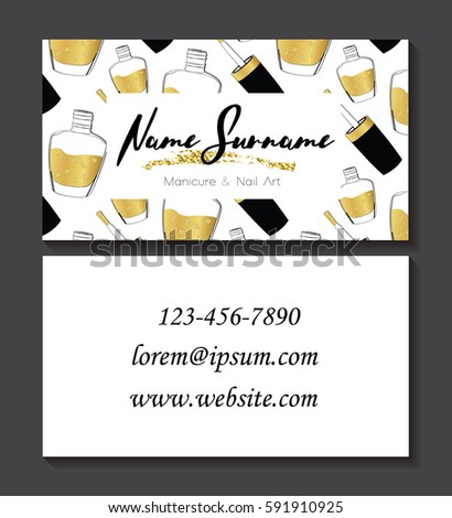 Set Of Business Cards For Manicure And Nail Art