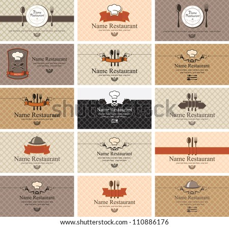 set of business cards on food - stock vector