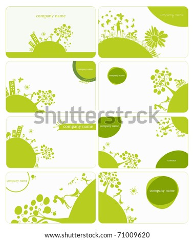 set of 8 business cards on green little planet earth theme - stock vector