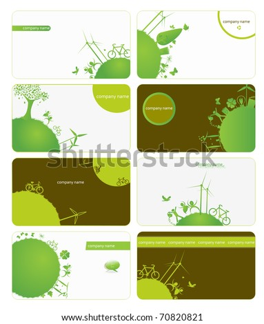 set of business cards on green planet earth theme - stock vector