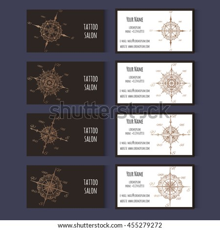 Set Business Cards Templates Tattoo Salon Stock Vector - Tattoo business card templates