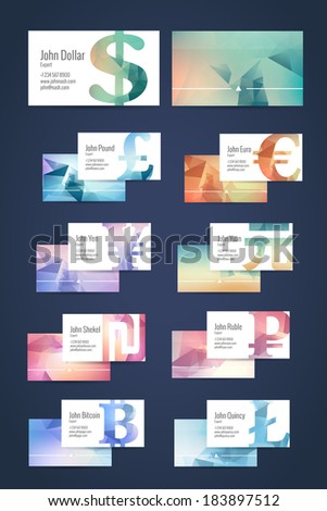 Set of business cards templates with money signs of modern triangle pattern. - stock vector