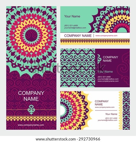 Set of business cards templates with oriental ornament. Vector background. Indian, Arabic, Islam motifs. Vintage design elements. Mandala and seamless border decorative elements - stock vector