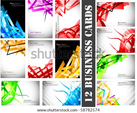 Set of 12 business cards.Vector illustration. - stock vector