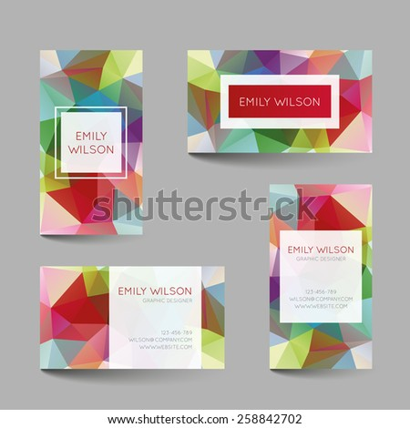 Set of business cards with abstract geometrical triangles - stock vector