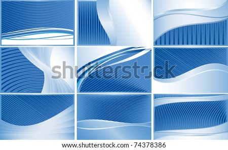 Set of business cards with blue stripes. All textures are on different layers. - stock vector