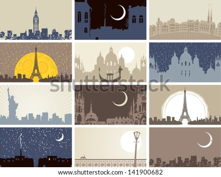 set of business cards with historic urban landscapes - stock vector