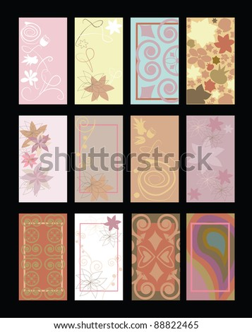 set of business cards with pattern - stock vector