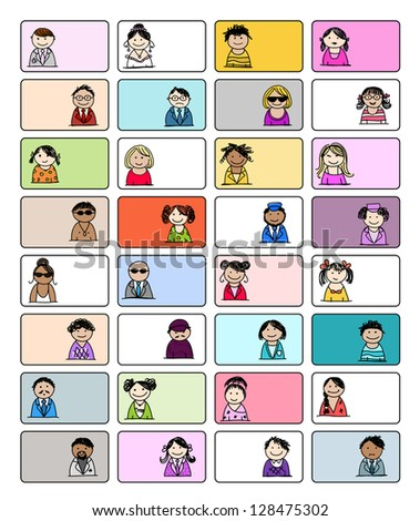 Set of business cards with people icons for your design - stock vector