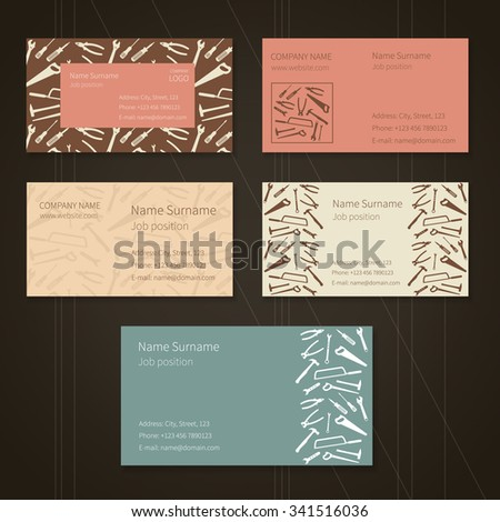 Set of business cards with plane working tools and place for your text. Vector. Colors - white, brown, pink, yellow and blue. - stock vector