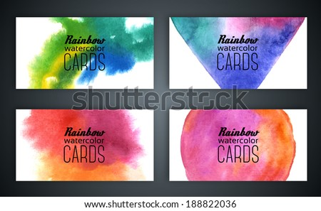 Set of business cards with watercolor background. Vector illustration. Watercolor on wet paper. Watercolor composition for business cards with space for company name. - stock vector
