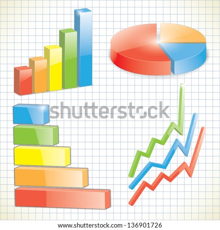 set of business charts. 3d. vector eps10 - stock vector