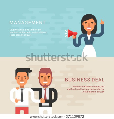 Set of Business Concepts with Businessman Cartoon Characters. Management, Business Deal. Vector Illustration in Flat Design Style - stock vector