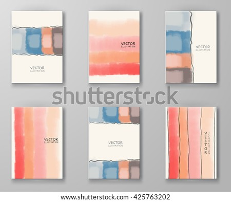 Set of Business design templates. Brochure with Color Paint Backgrounds. Abstract Modern Vector Illustration. - stock vector