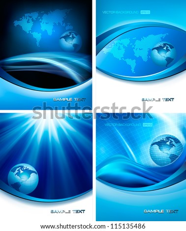 Set of business elegant abstract backgrounds with globe. Vector illustration - stock vector