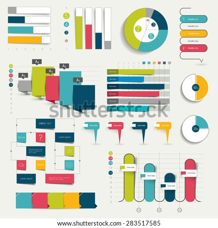 Set Business Flat 3d Design Graphs Stock Vector 283517585