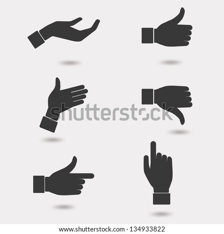 Set of business hand icon in many characters. Can be easy to change color. Vector illustration. - stock vector