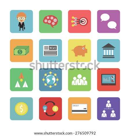 set of business icon isolated on white background - stock vector