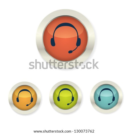 Set of business icon telephone support, communication. Human wearing headset in office receptionist, operator, assistant, secretary. Telephone icon. 3d button - stock vector