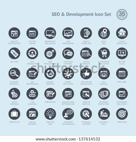 Set of business icons for SEO and development - stock vector
