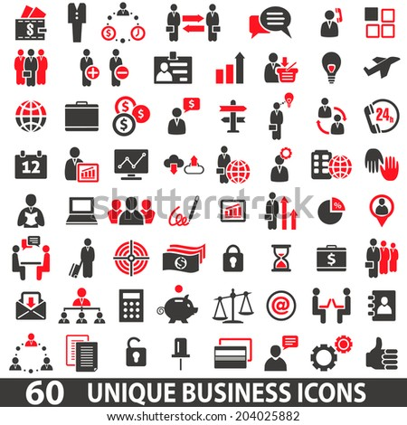 Set of 60 business icons in two colors red and dark grey - stock vector